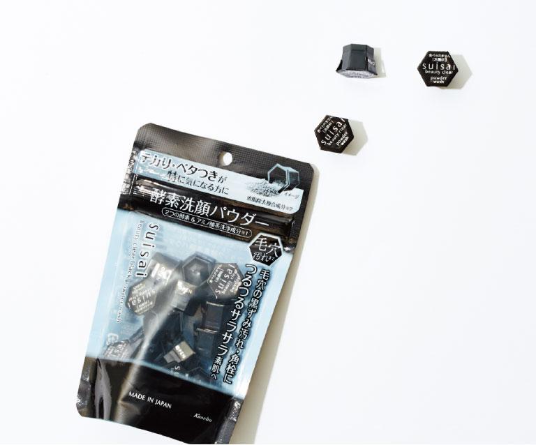 スイサイ ビューティクリア ブラック パウダーウォッシュ 0.4g×15個入り¥990*編集部調べ(カネボウ化粧品☎0120・518・520)