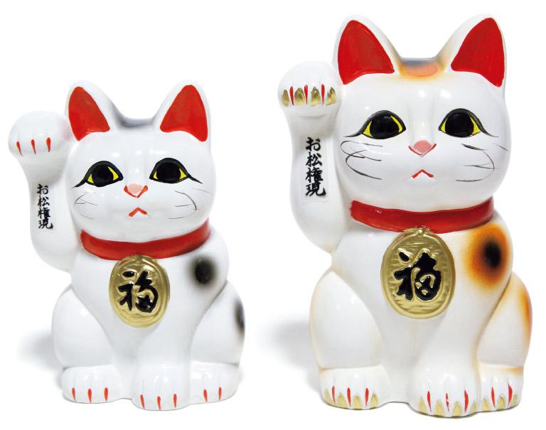 招き猫大1,800円、中1,300円(お松大権現☎0884・25・0556)。小サイズもあり。