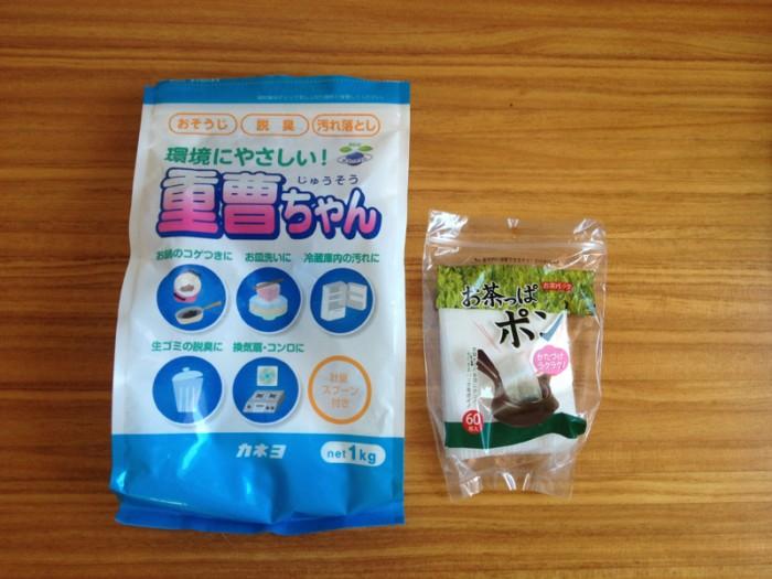 防カビ効果のある重層と、お茶の葉用のパックを用意。